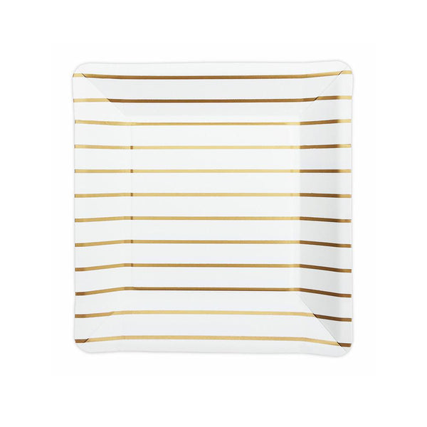 Gold Striped Square Party Plates