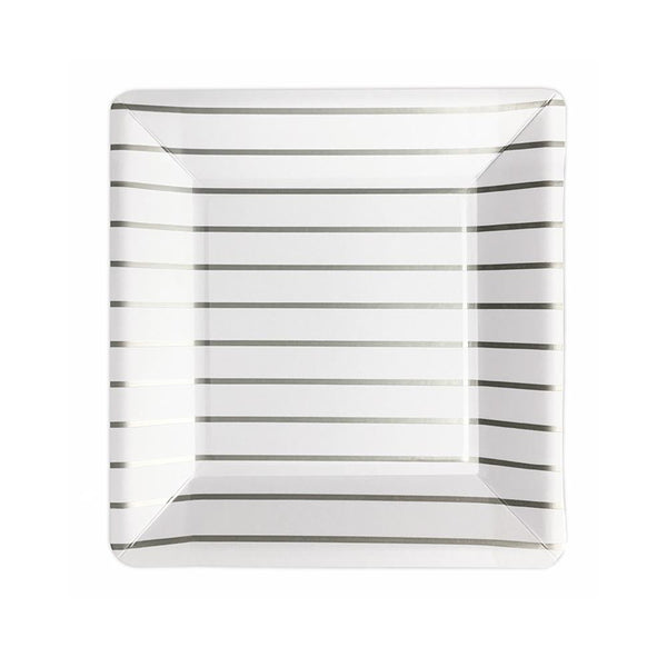 Silver Striped Square Plates  Party Plates Delight Department - Hello Party