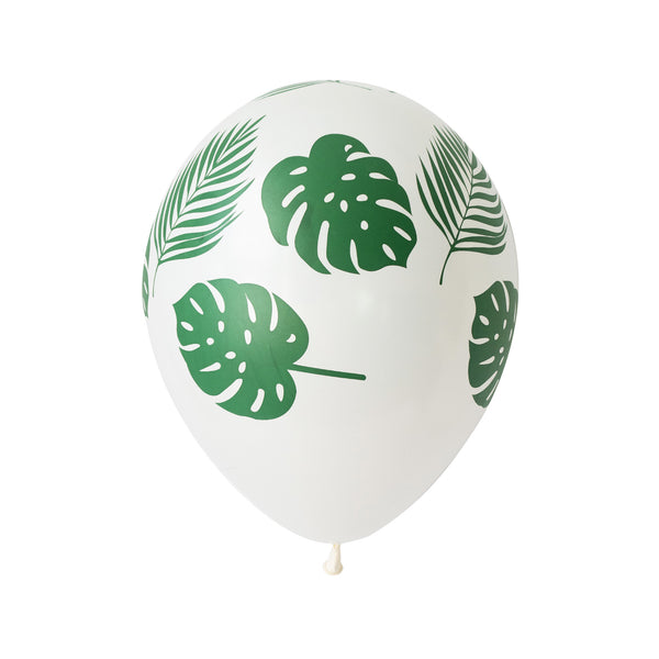 Tropical monstera and fern Leaf Print White Balloons (pack of 5)