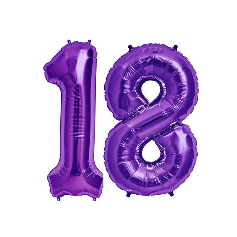"34"" Purple Number 18 Foil Balloon Pack"