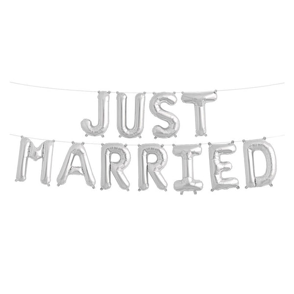 Silver Just Married Foil Balloon Kit  Balloons Hello Party - All you need to make your party perfect! - Hello Party