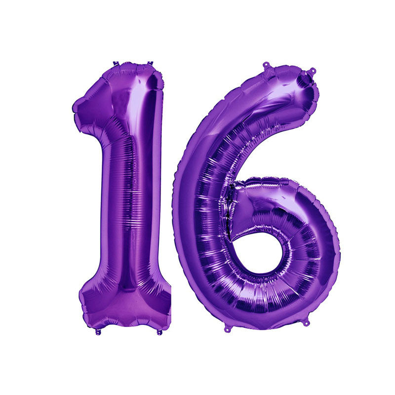 "34"" Purple Number 16 Foil Balloon Pack  Balloons Hello Party - All you need to make your party perfect! - Hello Party"