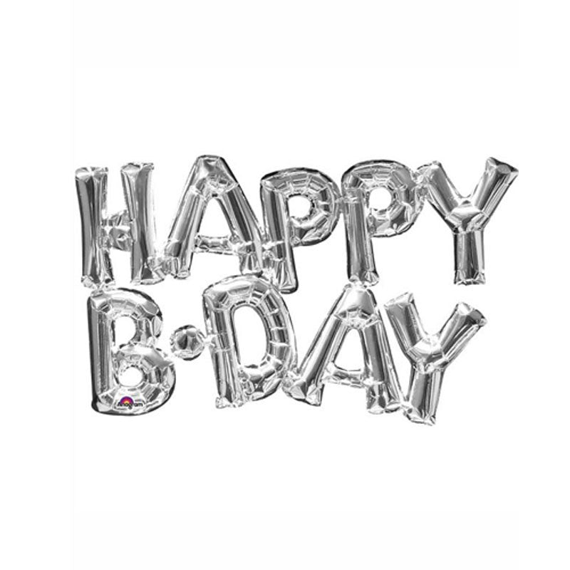 "Silver Happy B-Day Air Fill 16"" Foil Balloon Kit"