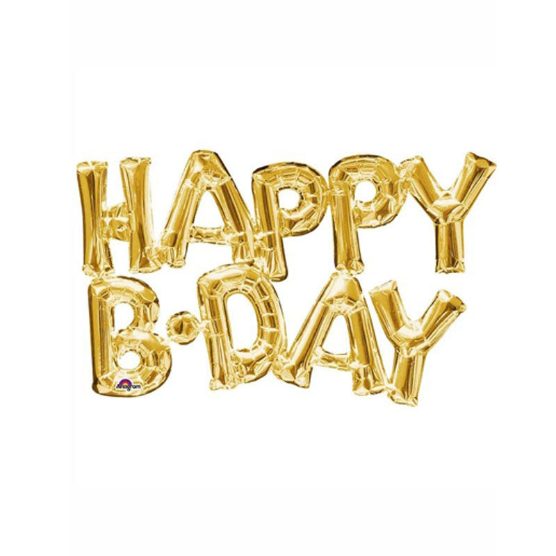 "Gold Happy B-Day Foil 16""Balloon Kit  Balloons Hello Party - All you need to make your party perfect! - Hello Party"