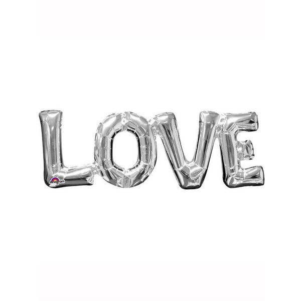 "Silver Love Air Fill 25"" Shape Foil Balloon  Balloons Hello Party - All you need to make your party perfect! - Hello Party"