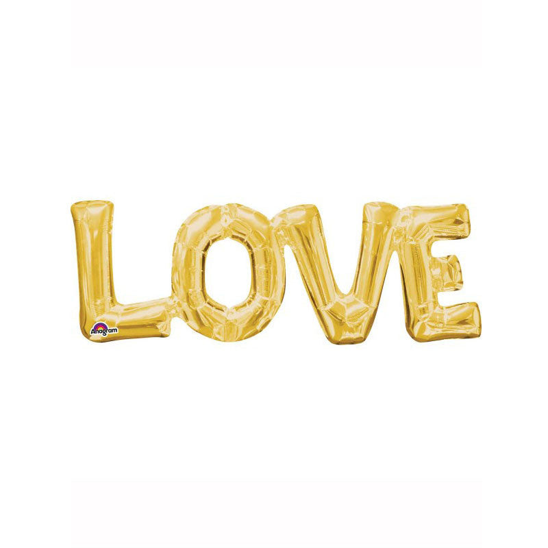 "Gold Love Air Fill 25"" Shape Foil Balloon  Balloons Hello Party - All you need to make your party perfect! - Hello Party"