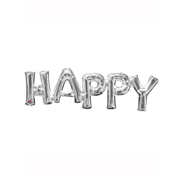 "Silver Happy 30"" Air Fill Shape Foil Balloon"