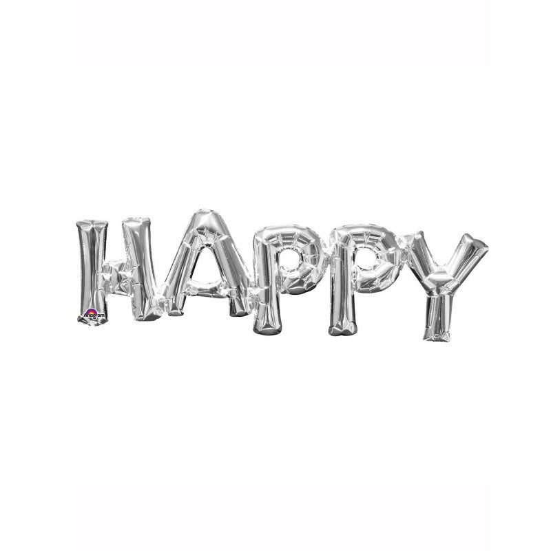 "Silver Happy 30"" Air Fill Shape Foil Balloon  Balloons Hello Party - All you need to make your party perfect! - Hello Party"