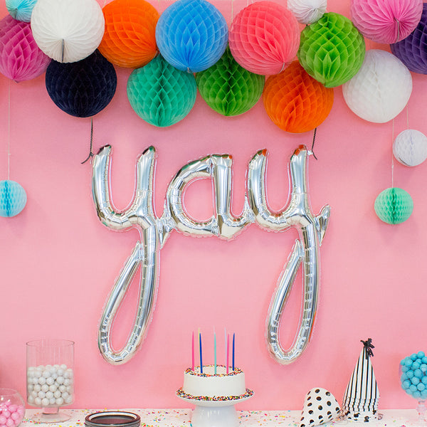 "Silver Yay Script Foil Balloon 45""  Balloons Hello Party - All you need to make your party perfect! - Hello Party"