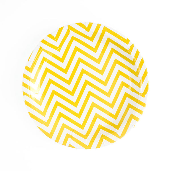 Yellow Chevron Round Paper Plates  Party Plates Hello Party Essentials - Hello Party