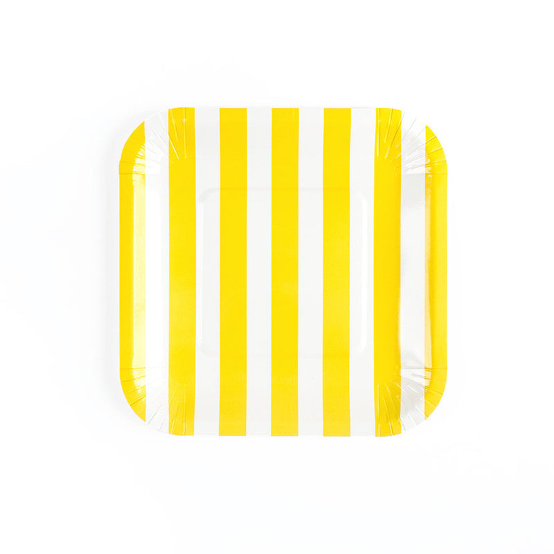 Yellow Sailor Striped Square Paper Plates  Party Plates Hello Party Essentials - Hello Party