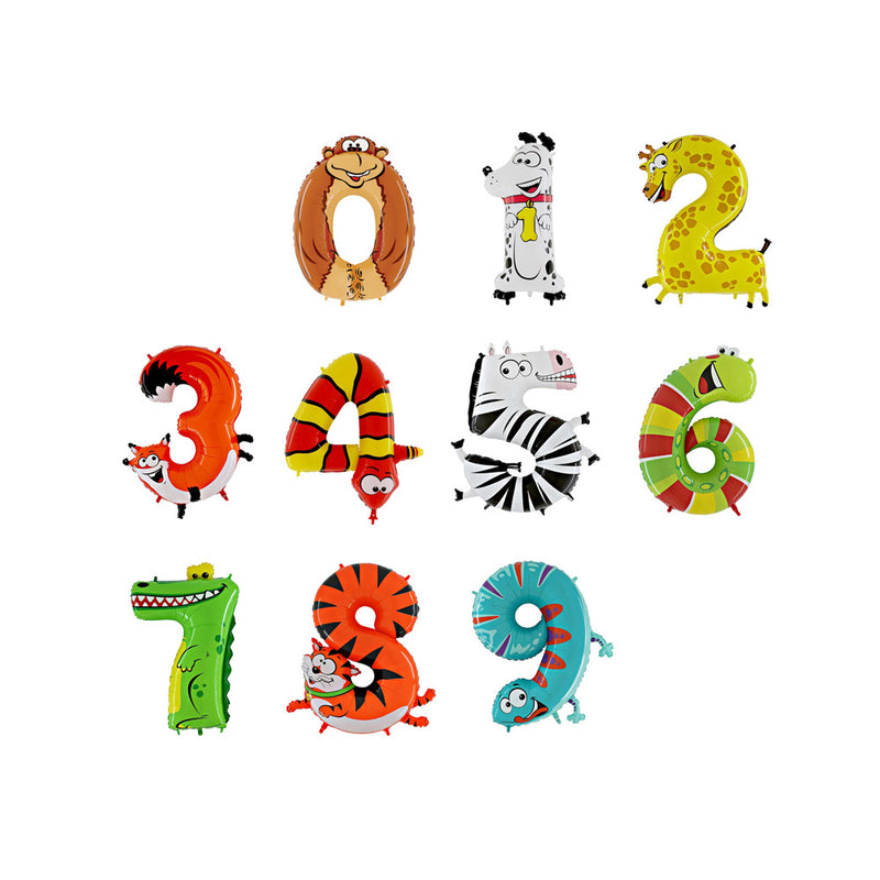 Giant Animal Shaped Number Balloons  Balloons Betallic - Hello Party