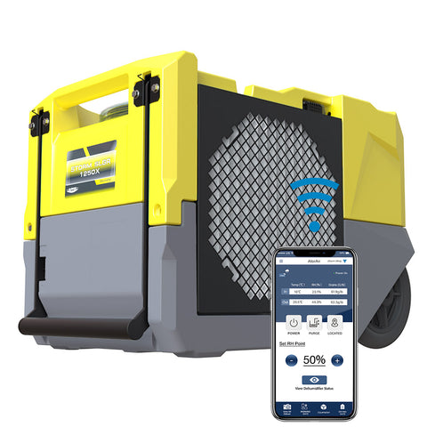 AlorAir Smart WiFi Dehumidifier, 125 PPD High Performance, Commercial Dehumidifier with Pump, Compact, Portable, cETL Listed, 5 Years Warranty, Industrial dehumidifier for Disaster Restoration, Yellow