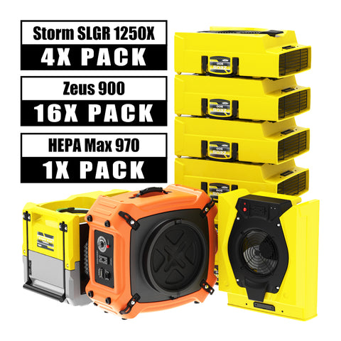 AlorAir® Commercial Pack, 4 X Storm SLGR 1250X WIFI Dehumidifier, 16 X  Zeus 900 Air Movers and 1 X HEPA Max 970 Air Scrubber Water Damage Restoration Equipment Package