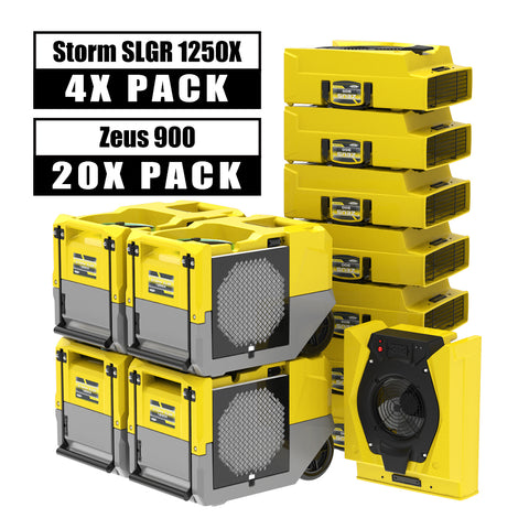 AlorAir® Ultimate pack 4 Storm SLGR 1250 Xcommercial dehumidifiers 125Pint +20 air movers water damage restoration equipment package