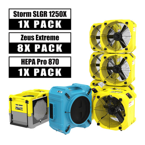 AlorAir® Commercial Pack, 1 X Storm SLGR 1250X Smart WIFI Dehumidifier, 8 X Zeus Extreme Air Movers and 1 X HEPA Pro 870 Air Scrubber Water Damage Restoration Equipment Package
