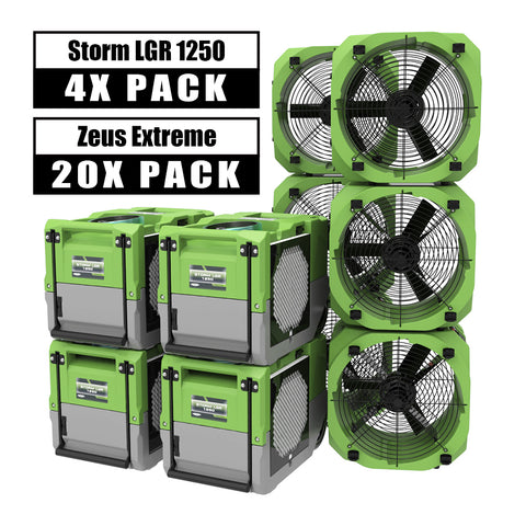 AlorAir® Ultimate pack 4 Storm LGR 1250 commercial dehumidifiers 125 Pint + 20 air movers water damage restoration equipment package