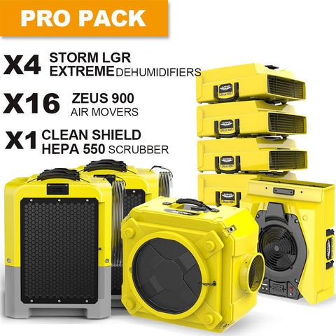 AlorAir® LGR Extreme pack dehumidifiers, air movers and scrubber water damage restoration equipment package