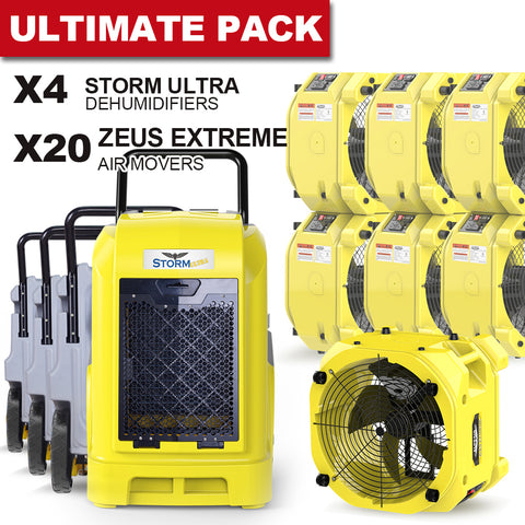 AlorAir® Ultimate pack 4 commercial dehumidifiers 90 Pint + 20 air movers water damage restoration equipment package