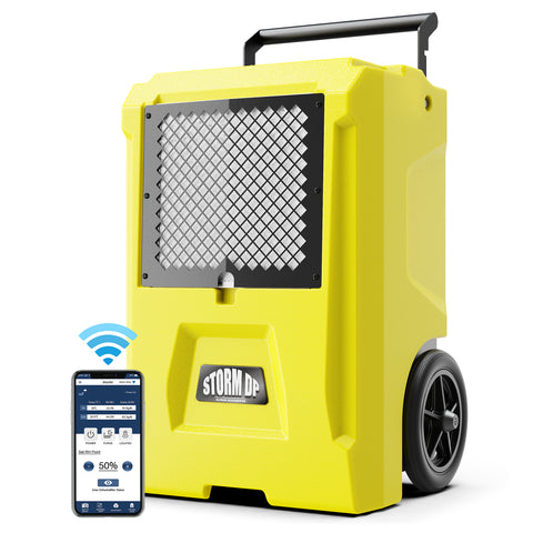 AlorAir Storm DP Smart WiFi Commercial Dehumidifier, 50 AHAM/110 Saturation PPD Dehumidifier with Pump, Water Damage Equipment for Crawl Spaces, Basements, Garages, and Job Sites, Yellow