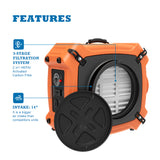 AlorAir PureAiro HEPA Max 970 Professional 3-Stage Filtration Air Scrubber, Negative Machine Air Cleaner with UV-C Light, 750 CFM, Water Damage Restoration for Air Purifier, 10 Years Warranty, Orange
