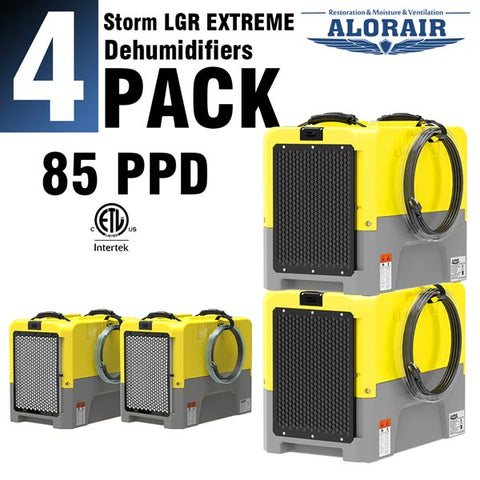 ALORAIR® Storm LGR Extreme 85 Pint commercial restoration dehumidifiers (Pack of 4) wholesale package of restoration equipment