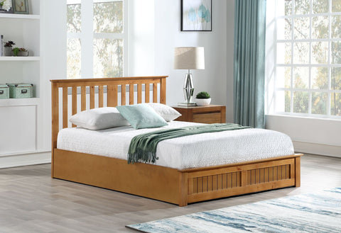 BELLA - Wooden Ottoman Storage Bed - 3 Sizes & 3 Colours - Online4furniture