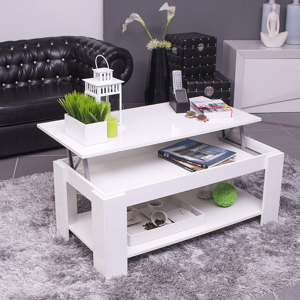 AMBIT Lift-Up Storage Coffee Table with Shelf in White - Online4furniture
