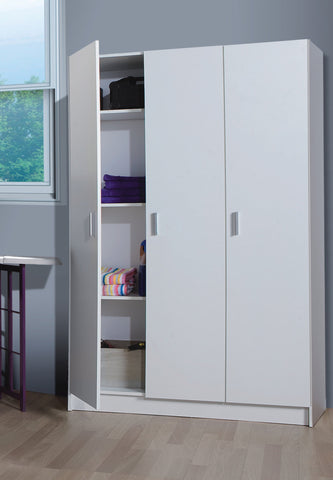 VITA Utility 3 Door Broom Cupboard in White - Online4furniture