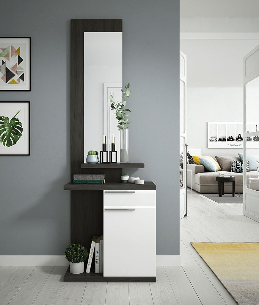 KENDRA Hallway Unit with Mirror in Grey Ash - Online4furniture
