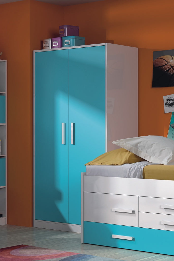 iBLUE 2 Door Wardrobe in Blue & White - Online4furniture