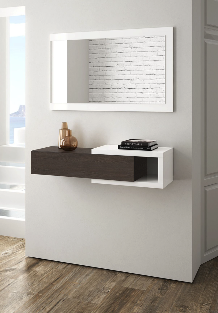 NOON Floating Hallway Unit with Mirror in White & Tuscan - Online4furniture