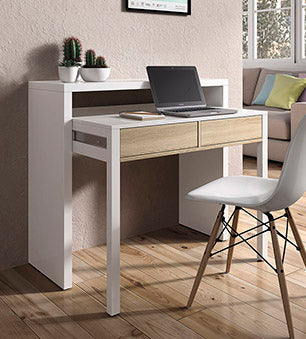 AMBRA Computer Desk with 2 Drawers in Canadian Oak / White