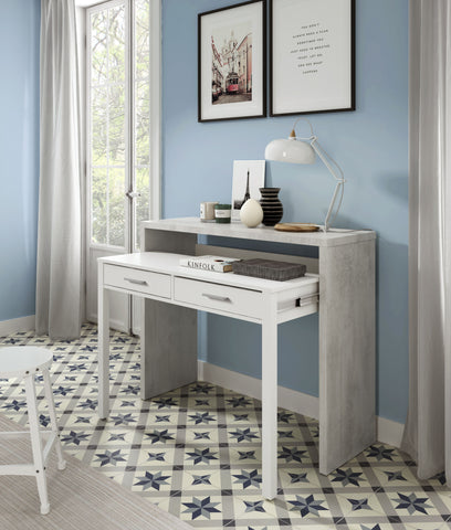 AMBRA Computer Desk with 2 Drawers in Cement / White