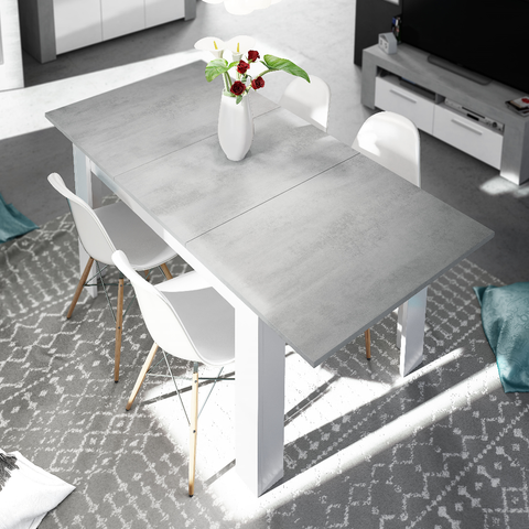 LANZA 140cm-190cm Extending Dining Table in Cement & White - Online4furniture