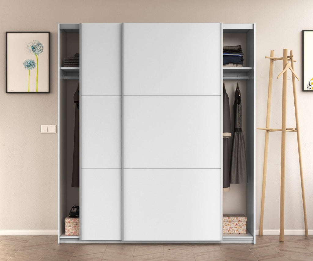 ARC 150cm Large 2 Door Sliding Wardrobe - White - Online4furniture