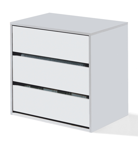 ARC Internal 3 Drawer Chest of Drawers in White