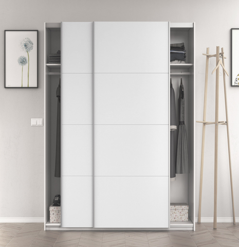 ARM 120cm 2 Door Sliding Wardrobe in White