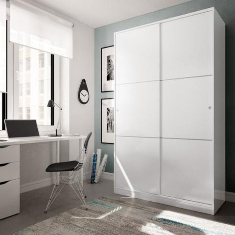 SERENA 120cm 2 Door Sliding Wardrobe in White - Online4furniture