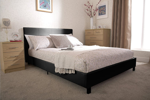 PABLO 4FT Small Double Faux Leather Low Frame Bed in Black