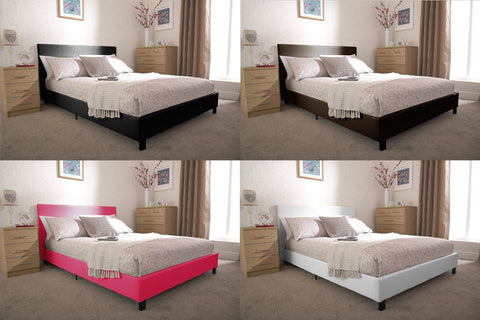 PABLO - Faux Leather Low Frame Bed - 4 Sizes & 5 Colours