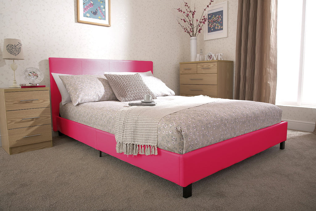 PABLO 3FT Single Faux Leather Low Frame Bed in Hot Pink