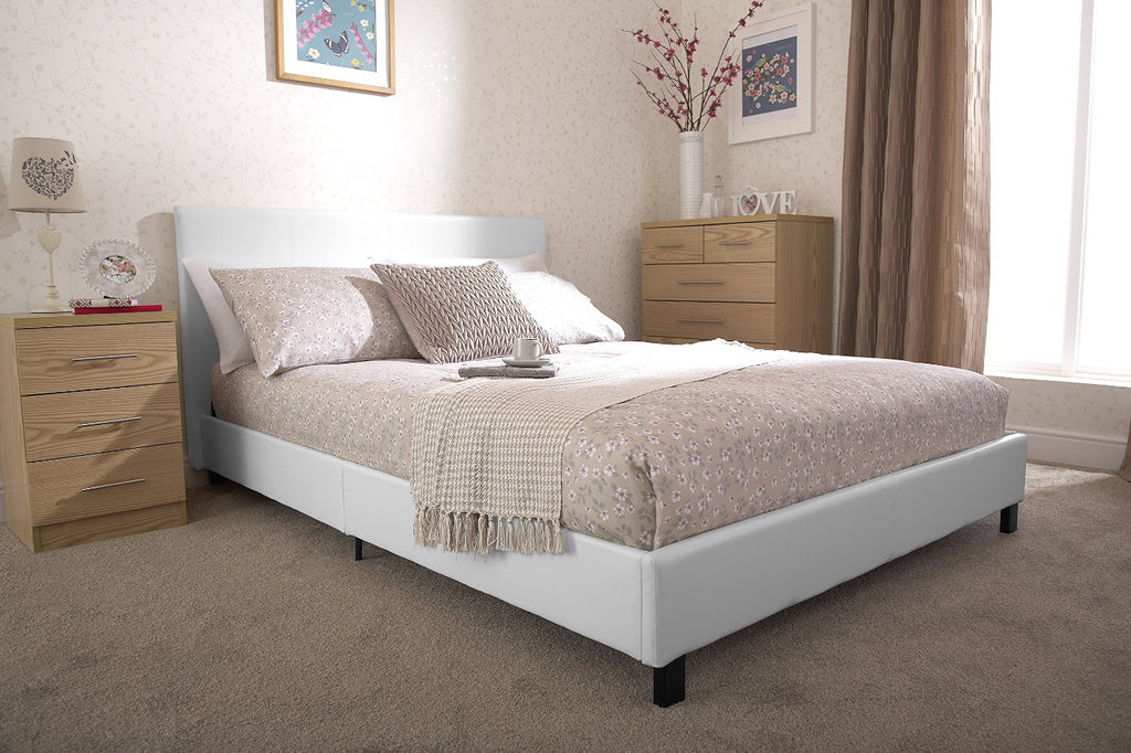 PABLO 4FT Small Double Faux Leather Low Frame Bed in White