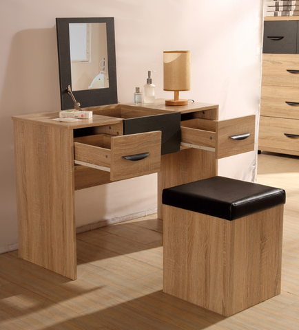 PACIFIC 2 Drawer Dressing Table Desk with Mirrored Lid + Stool in Somona Oak & Grey Ash
