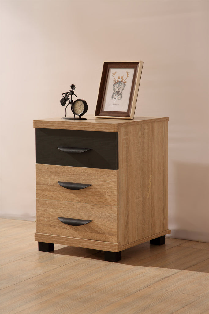 PACIFIC 3 Drawer Bedside Table in Somona Oak & Grey Ash