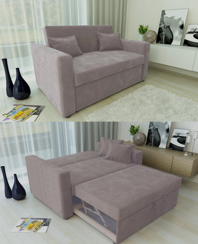 RAVENA 2 Seater Sofabed with Matching Cushions in Taupe - Online4furniture