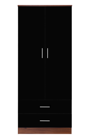 REFLECT High Gloss 2 Door + 2 Drawer Combination Plain Wardrobe in Black & Walnut - Online4furniture