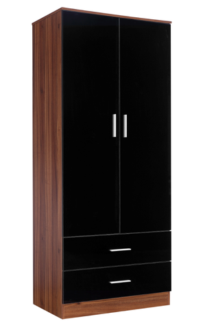 REFLECT - High Gloss 2 Door + 2 Drawer Combination Plain Wardrobe - 4 Colours