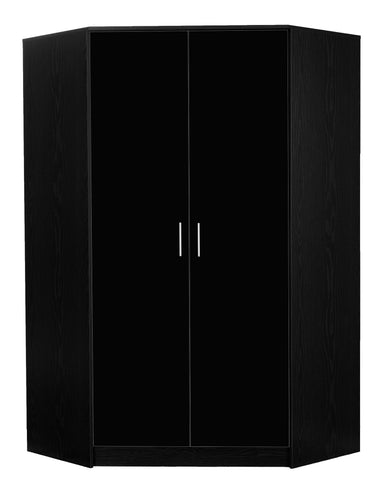 REFLECT High Gloss 2 Door Corner Wardrobe in Black / Black Oak - Online4furniture