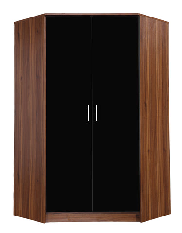 REFLECT High Gloss 2 Door Corner Wardrobe in Black / Walnut - Online4furniture